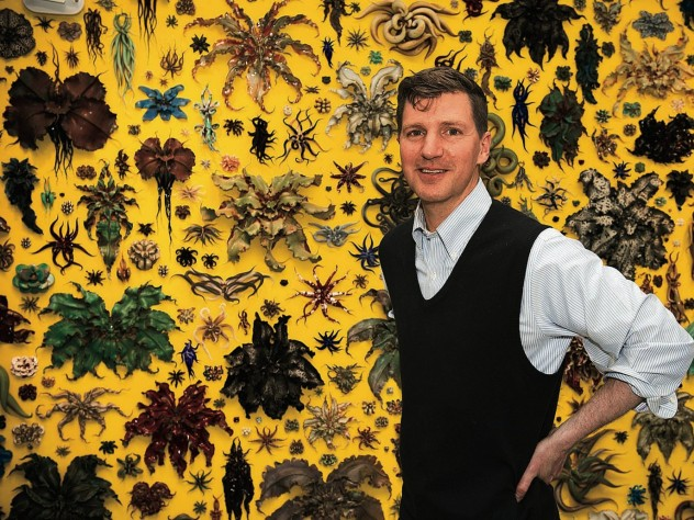 Adams in front of his 2015 installation, <i>Life, or Something Like It.</i>
