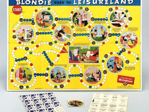 "Among Harvard's tangible things: ""Blondie Goes to Leisureland,"" a comic-based 1940 game, promoting Westinghouse products"
