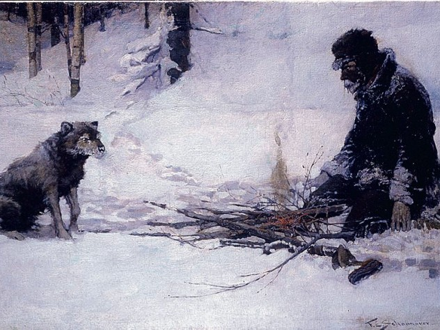 """Frank E. Schoonover's vision of the Yukon illustrated Jack London's story """"To Build a Fire."""""""