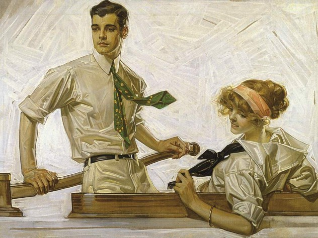 J.C. Leyendecker&rsquo;s <i>Couple in Boat</i> helped sell Arrow shirt collars.