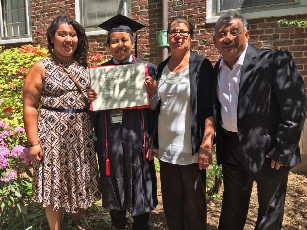 Lenica Morales-Valenzuela '15 celebrates graduation with her family.