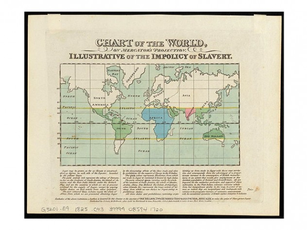 """Map of the world, ca. 1825, showing """"the impolicy of slavery"""""""