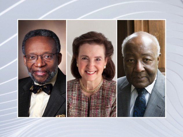 Three headshots, of Harvard Medalists Walter K. Clair, Nancy-Beth Gordon Sheerr, Preston N. Williams