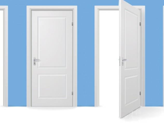 Illustration of open doors, tied to concept of commitment instead of just seeking opportunities