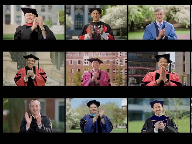 Screen shot of Harvard President Bacow and deans applauding graduates.