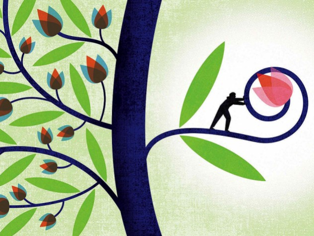 A stylized illustration of a tree with many small flowers blooming on one side and on the other one small branch on which a small human figure is nurturing one large blossom