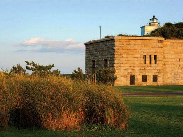 Sunset view of Fort Taber Park and the exterior of Civil War-ere Fort Rodman