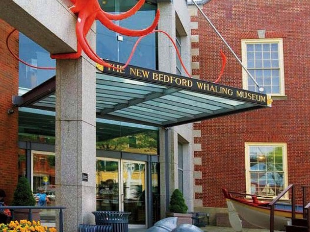 Entrance to the New Bedford Whaling Museum offers historic and contemporary architecture