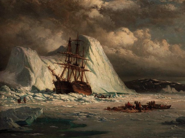 Masted ship stuck in the ice