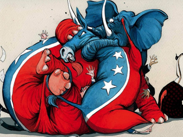 An illustration showing a donkey and an elephant, representing the Democratic and Republican parties, wrestling.