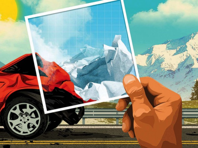 An illustration of the crumpled front end of a car that has been in an accident with mountains that are the result of crumpling of Earth's crust, rising in the background