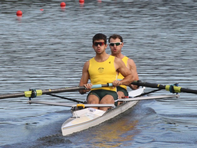 Brodi Buckland (foreground) in the stroke seat