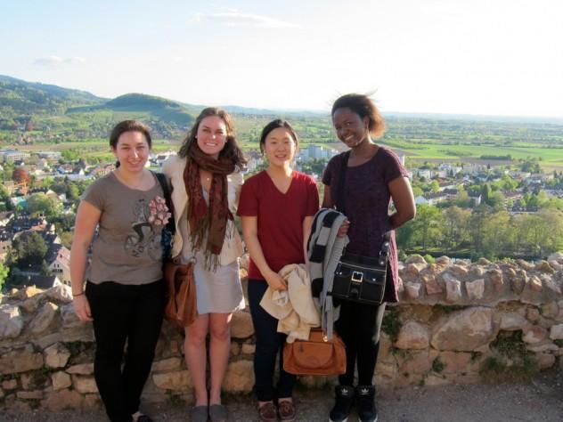 Sasha Mironov '13, Colby Wilkason '13, Esther Lee '13, and Rose Nyameke '14, members of the inaugural Harvard College Europe Program class, at Staufen, a town near Freiburg, Germany