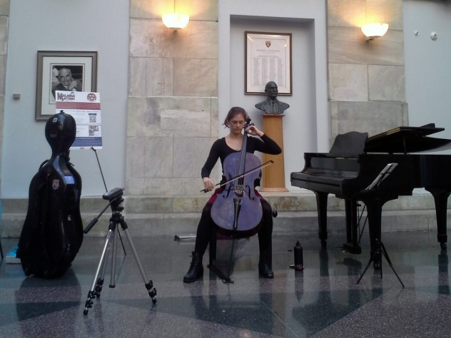 Mckenna Longacre, HMS '17, performed selections from Bach's First Cello Suite in G Major.