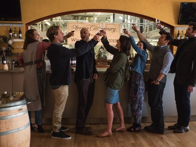 Sam (Annie Parisse), Nick (Nat Faxon), Ethan (Keegan-Michael Key), Lisa (Cobie Smulders), Marianne (Jae Suh Park), Max (Fred Savage), and Felix (Billy Eichner)