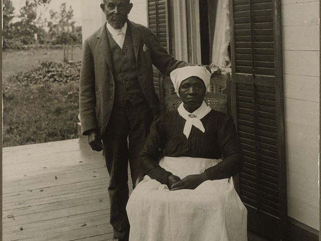 An early 1900s photograph of two people who worked for the family of Theodore Roosevelt's mother, Martha Bulloch, in Roswell, Georgia