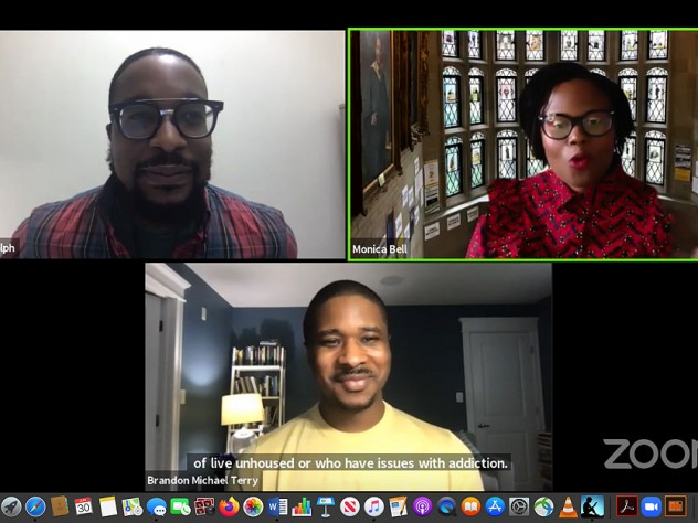 Screenshot of Zoom conversation with Laurence Ralph, Monica Bell, and Brandon Terry