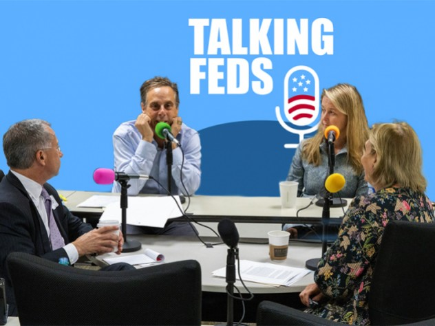 Paul Fishman, Harry Litman, Amy Jeffress, and Jamie Gorelick record an episode of the Talking Feds podcast.