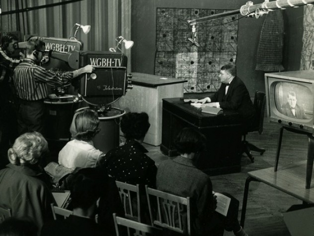 """Professor J.O. Brew teaching """"Primitive Technology,"""" the first presentation of the Commission on Extension Courses to be telecast by WGBH, during 1956-1957."""