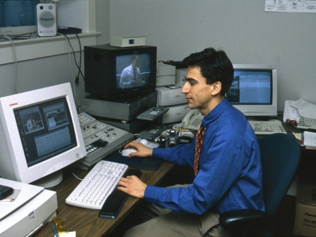 Antonio Aranda Eggermont, CAS '99, works on the initial distance-education videos in 1999.