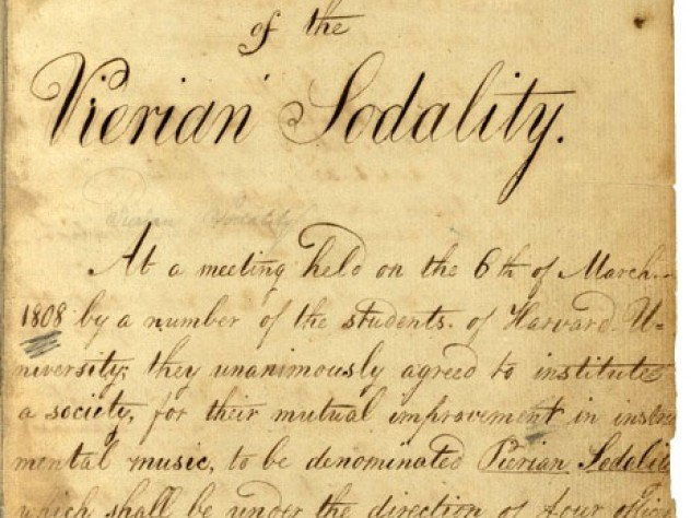 The founding document of the Pierian Sodality, dated March 6, 1808. Founders included four officers and two members.