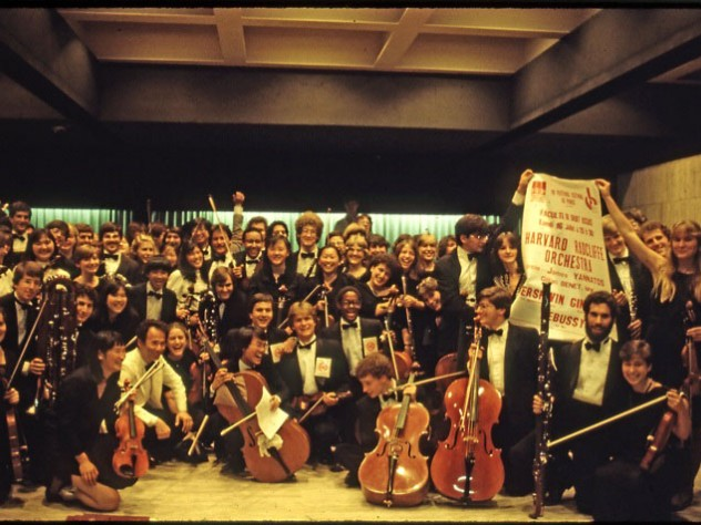 "The touring orchestra in Paris after a 1984 concert opening the ""Festival Estival."""