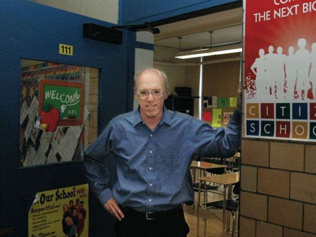 Volunteer Tony Helies at the Edwards Middle School in Charlestown, Massachusetts, where he teaches astronomy and advanced math