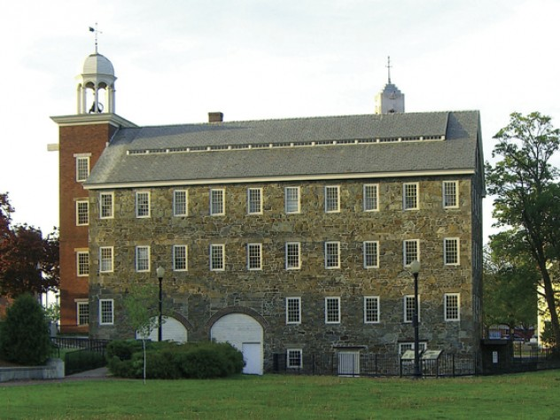 The Slater Mill's stone exterior