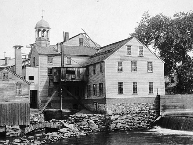 The Blackstone River and the mill circa 1890