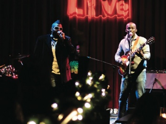 Soulfège performs at the World Café Live in Philadelphia last January,  with Gramling (center) and Ashong (right, with guitar) on vocals.