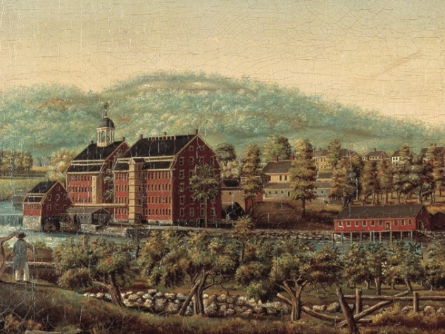 A detail of <em>Boston Manufacturing Company Waltham Mills,</em> painted by Elijah Smith circa 1825, shows the textile mill opened by Lowell's company.