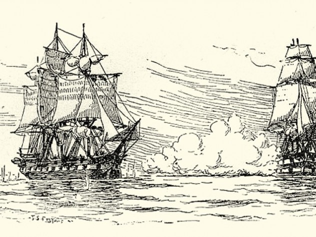 HMS <em>Leopard</em> firing on the USS <em>Chesapeake</em> on June 22, 1807, to enforce a demand that the American ship submit to a search for British Navy deserters