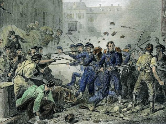 Massachusetts militia passing through Baltimore—and rioting Confederate sympathizers—in April 1861