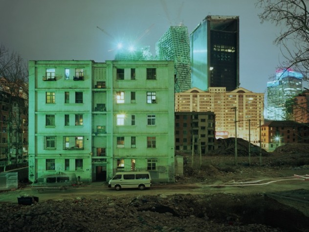 """""""Building No. 10 in  Hu Jia Lou Xi Li"""" (2008), with the China Central   Television headquarters rising to the rear."""
