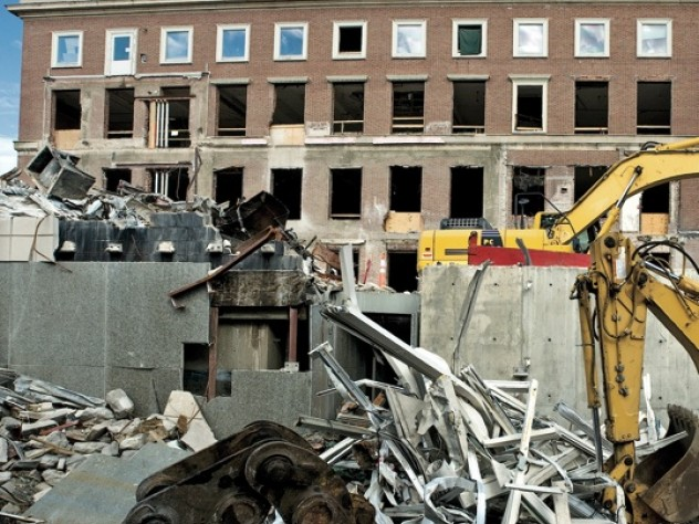 The view on Prescott Street, east of the Fogg, following demolition of Werner Otto Hall