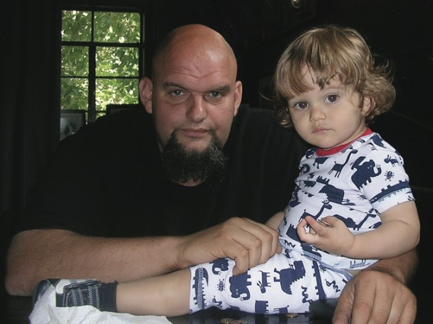 Fetterman at home with his young son, Karl