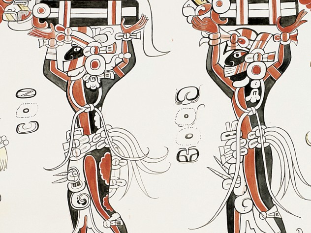 A detail from a watercolor of a figure and glyph from San Bartolo, Guatemala, at the Peabody Museum.