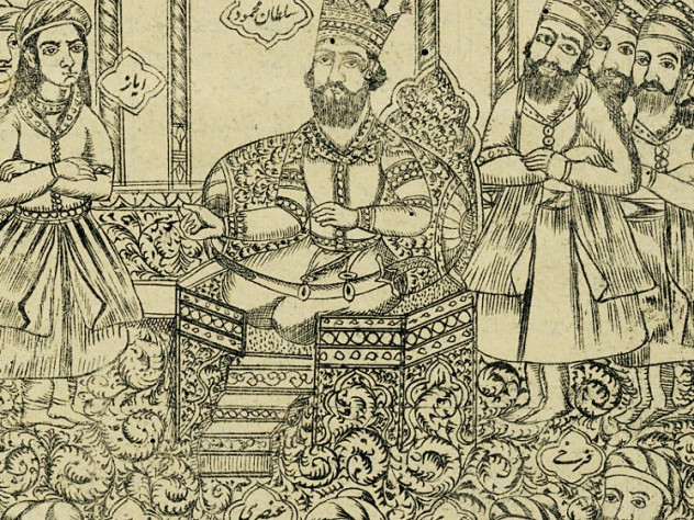 <em>Firdawsi at the Court of Sultan Mahmud of Ghazni,</em> on display at Houghton Library