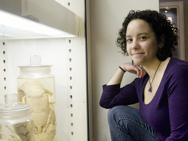 Paleontologist Phoebe Cohen explores the origins of life during a family program on October 17 at the Harvard Natural History Museum.