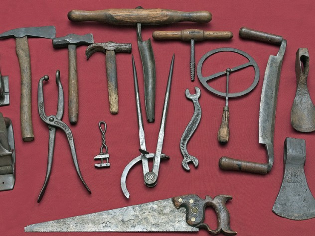 Hand-forged tools from early New England  at the eclectic Davistown Museum