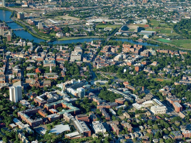 """The Cambridge campus as seen from a vantage point above Oxford Street, looking toward the University's future in Allston  [<a href=""""http://harvardmagazine.com/sites/default/files/375_so11_002_web.jpg"""">VIEW LARGER PHOTOGRAPH</a>]"""