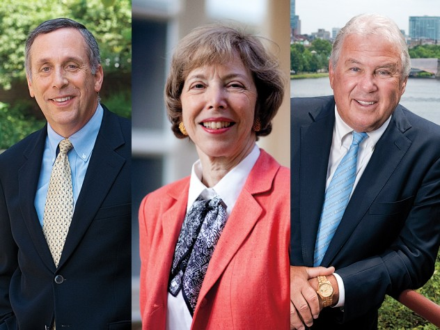 From left to right: Lawrence S. Bacow, Susan L. Graham, and Joseph J. O'Donnell