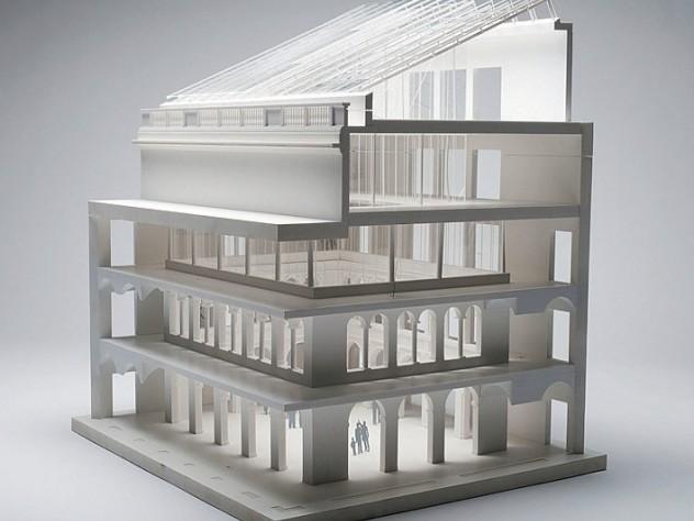 A cutaway model of the courtyard
