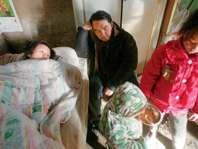 Visiting the home of a sick mother and her children