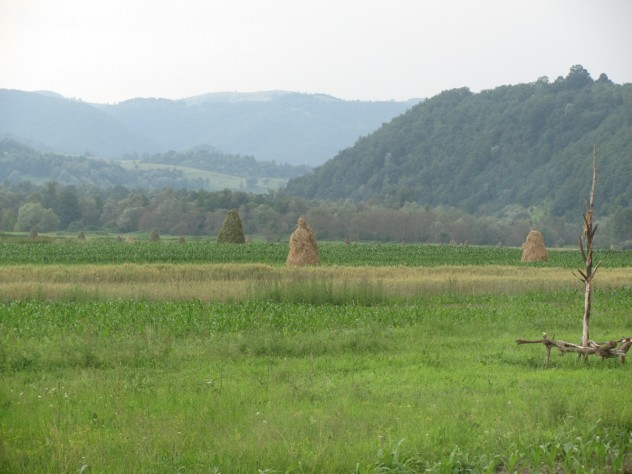 Crop fields and haystacks in Romania.