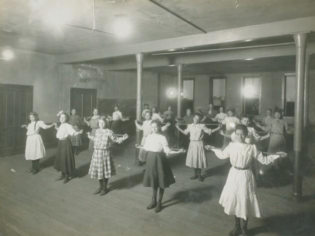 "<i>Social Settlements: United States. Georgia. Atlanta. ""Wesley House"": Wesley House, Atlanta, Ga.: In the Gymnasium,</i> c. 1908. Gelatin silver print"