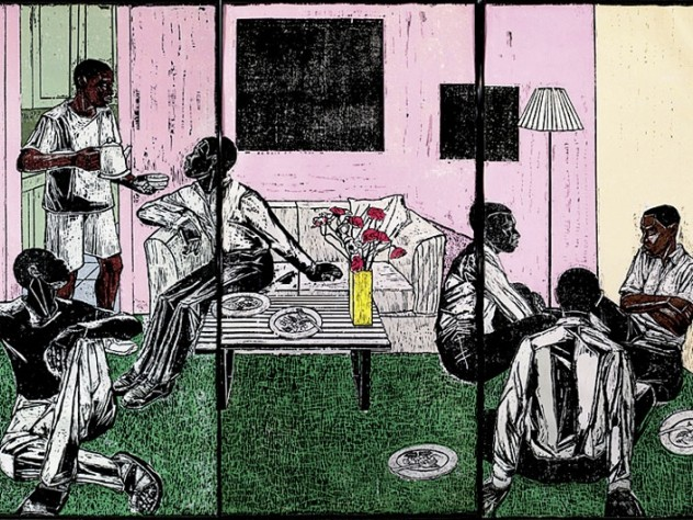 A panel from <i>Untitled</i> (1998/2007), by Kerry James Marshall, at the Harvard Art Museums