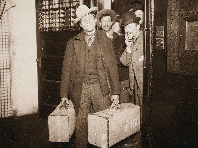 Attributed to J. H. Adams, <i>Races, Immigration: United States. New York. New York City. Immigrant Station: Regulation of Immigration at the Port of Entry. United States Immigrant Station, New York City: Saved at the Last Moment (Through an Appeal, the Order to Deport Was Revoked), </i>c. 1903. Glossy collodion silver print.