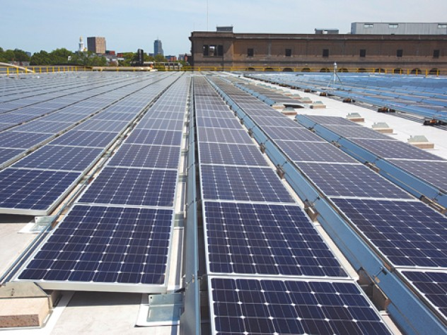 The solar array installed atop the Gordon Indoor Track offers 591.5 kilowatts of clean-energy capacity.