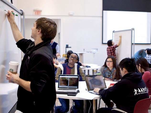From left: Conner Dalton, undergraduate course assistant Abiola Laniyonu, Christine A. Maroti, Ricky Liu, and Selena Kim